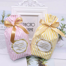 5Pcs/lot Cute Bow Tie Stripe Candy  Cookie Cake Gift Bags Wedding Birthday Party Snacks Baking Striped Decoration Bag