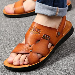 new 100% Cowhide leather beach shoes men's trend casual men's non-slip sandals men's sandals slippers Superstar Sneakers shoes