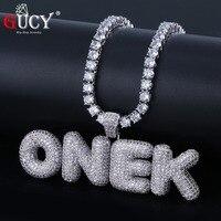GUCY A-Z пользовательское имя пузырьковый кулон из букв и ожерелье Шарм мужские CZ хип хоп ювелирные изделия с золотым серебром теннисная цепоч...