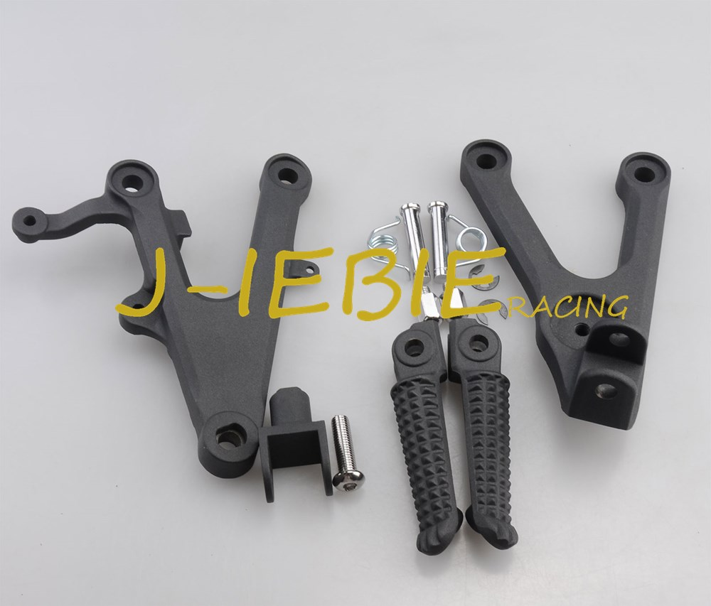 Front rider Foot pegs Brackets For Yamaha YZF R6 2003-2005 R6S 2006-2009 BLACK kid s rider 1698