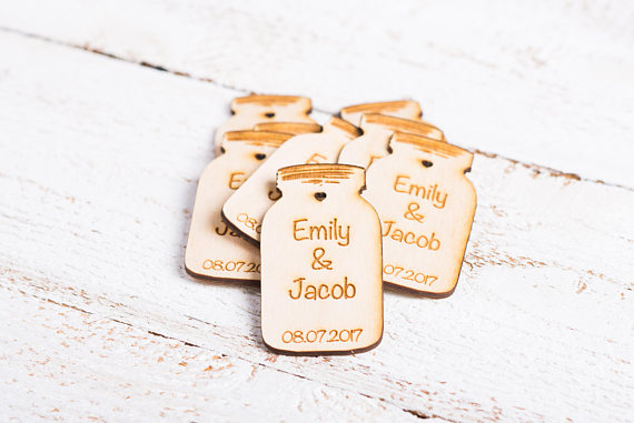 Mason Jar Wedding Favors Personalized Save The Date Wooden Tag Rustic