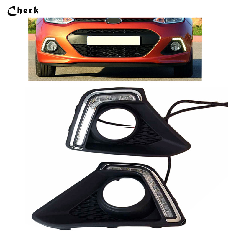 Headlight For Hyundai I10 2013 2014 Front Fog lamp Cover frame LED DRL Daytime running light Car Styling Auto Parts 2PCS 2pcs car led drl daytime running light for hyundai ix45 2013 2014 2015 fog light drl fog lamp 12 led 1pair lot