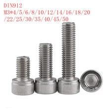 50 peças din912 m3 * 4/5/6/8/10/12/14/16/18/20/22/25/30/35/40/45/50 304 inox parafusos de cabeça de soquete sextavado de aço