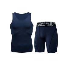 Summer Tracksuit Men quick dry Shorts Casual Men's Sportswear Suit Shorts Clothing Two Pieces Sleeveless Top+Shorts gym set