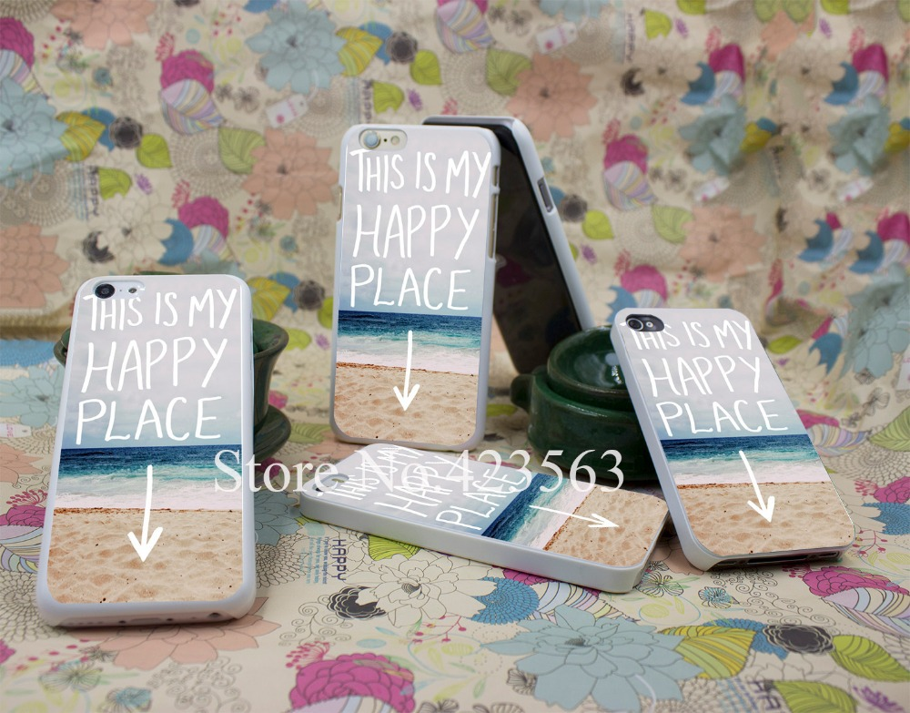 my happy place beach Style Hard White Case Cover for iPhone 4 4s 5 5s 6 6s 6 plus Back Print Design