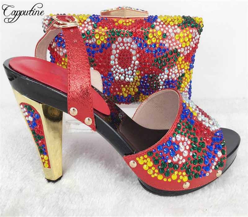 Capputine High Quality Rhinestone Ladies Shoes And Bag Set African Heels Shoes And Bag Set For Wedding Party Free Shipping capputine new arrival fashion shoes and bag set high quality italian style woman high heels shoes and bags set for wedding party