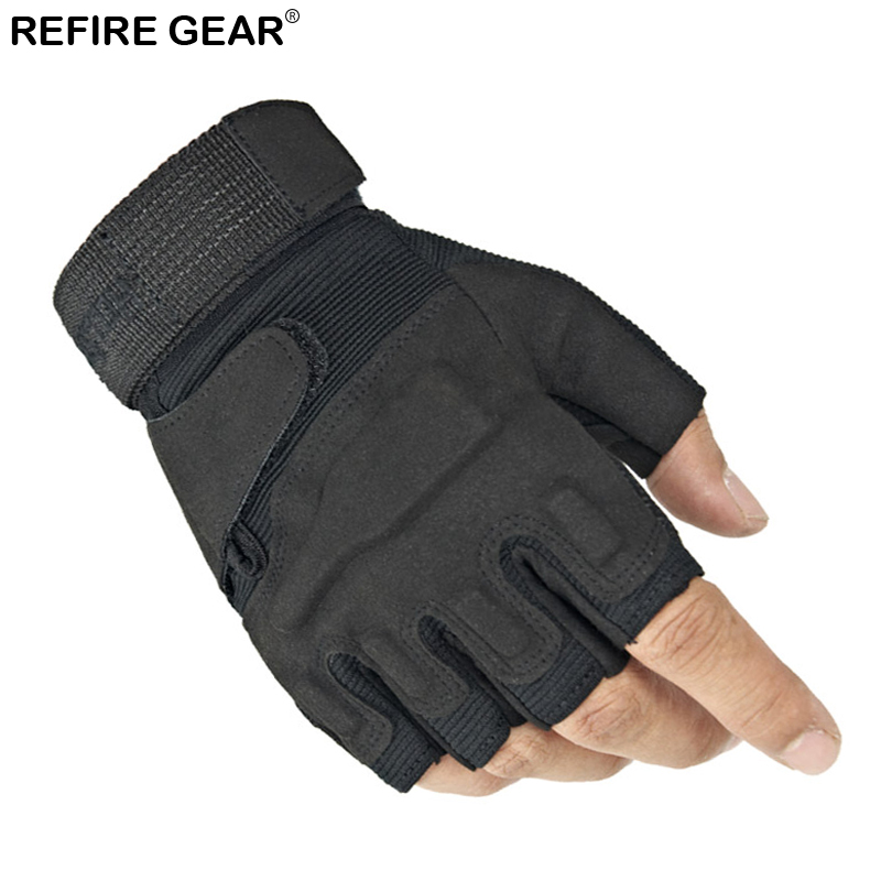 Refire Gear Outdoor Half Finger Tactical Gloves Men Riding Cycling Biker Gloves Hiking Anti-Skid Bicycle Fingerless Gloves