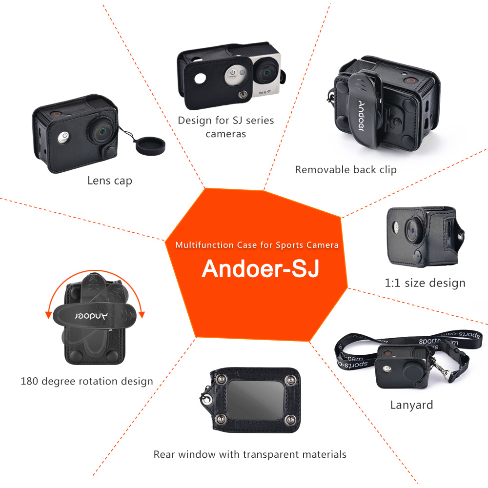 Consumer Electronics Andoer Carrying Camera Bag Multifunctional Clip-on Camera Case W/ Neck Lanyard Lens Cap For Sjcam Sj4000 Sj5000 Action Cameras