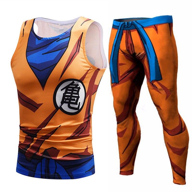 Dragon Ball Z Clothing Men Animation Tank Tops Son Goku Vegeta Tees Compression Leggings Shorts Fitness Top Tank Streetwear