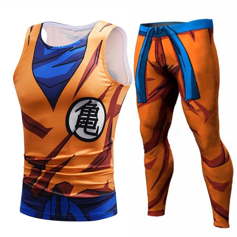 Men's Clothing Men Animation Tank Tops Son Goku Vegeta Tees Compression Leggings Shorts Fitness Top Tank Streetwear