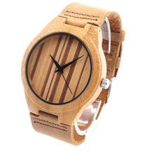 Bobobird RT0441 Diseño hombres de la Marca de Lujo de Relojes Con El Reloj de Cuarzo de Cuero Real De Madera De Bambú en Caja de Regalo