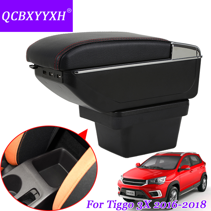 QCBXYYXH Car Styling PU&ABS Car Armrest For Chery Tiggo 3X 2016-2018 Central Storage Box Cover Interior With Cup Holders Case universal leather car armrest central store content storage box with cup holder center console armrests free shipping