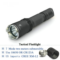 Upscale profession tactical flashlight cree xm l2 led lanterna Constant current invisible double open instant light