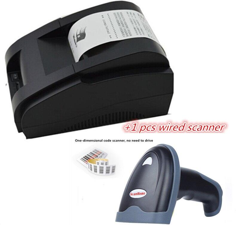 Escáner con cable + impresora pos blanco y negro al por mayor de alta calidad 58mm impresora de recibos térmicos interfaz USB