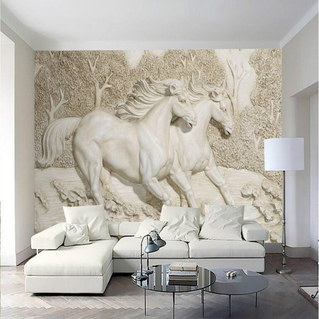 Wall Paper Home Improvement Decorative Wallpaper For Walls Living Room Stereo Relief White Horse