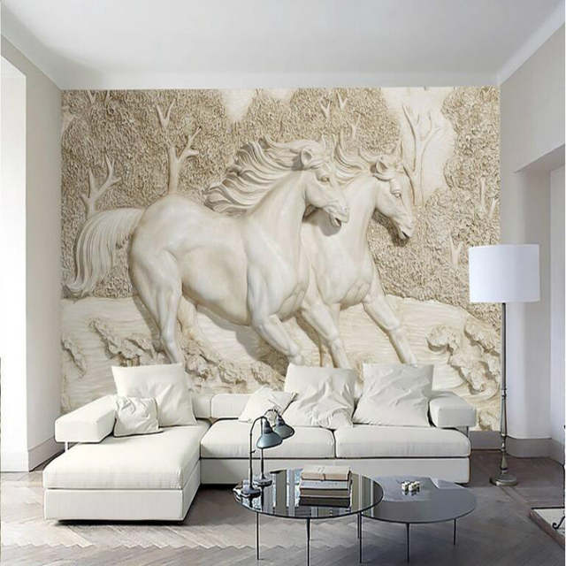 . US  12 75 49  OFF 3d Wall Paper Home Improvement Decorative Wallpaper for  Walls Living Room 3D Stereo Relief White Horse Wallpaper Murals in