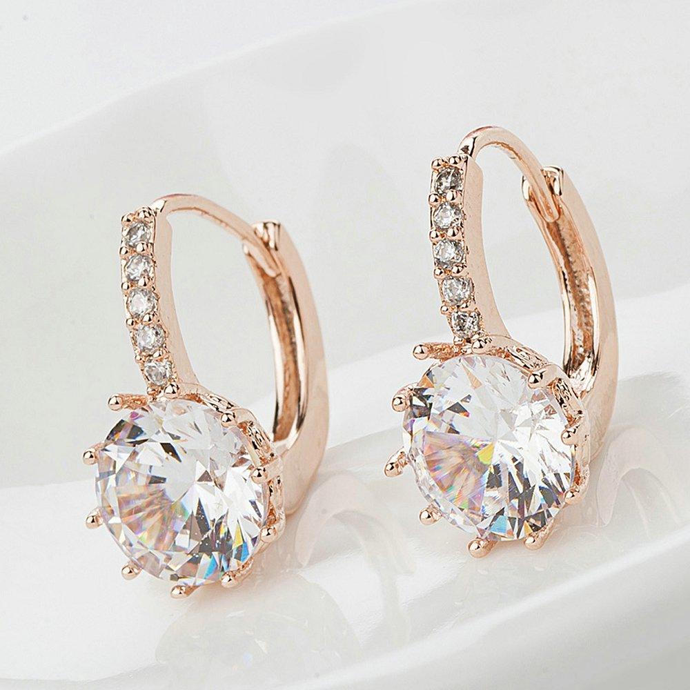 2018 New Vintage Boucles D'oreilles Or Rose Cristal CZ Bling Boucles - Bijoux fantaisie - Photo 4