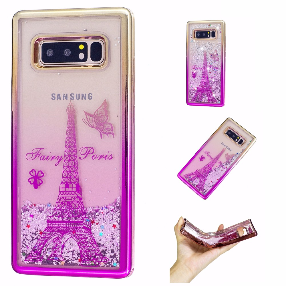 Case For Samsung Galaxy S8 S8 Plus S7 Note 8 Case Electroplating Liquid  Glitter Powder Quicksand TPU Cover For iphone X Fundas 95fe86c997fb