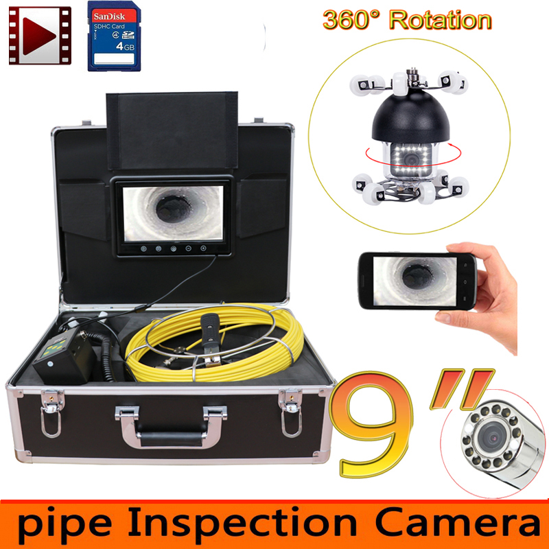 9inch 360 rotation degree panning Pipe Inspection Video Camera 8GB DVR IP68 Drain Sewer Pipeline Industrial Endoscope system9inch 360 rotation degree panning Pipe Inspection Video Camera 8GB DVR IP68 Drain Sewer Pipeline Industrial Endoscope system