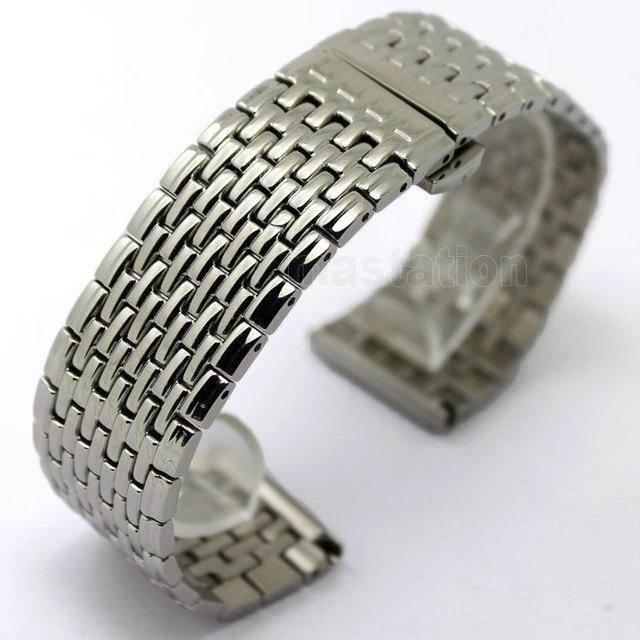 22mm Cinta Faixa de Relógio de Pulso de Quartzo Dos Homens Das Mulheres de Prata Pulseira de Aço Inoxidável de Alta Qualidade com Fivela de Borboleta GD013122