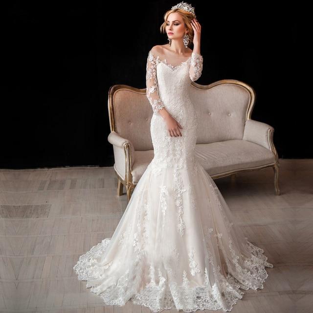 Buy luxury vintage long sleeve lace for Long sleeve mermaid wedding dresses 2017