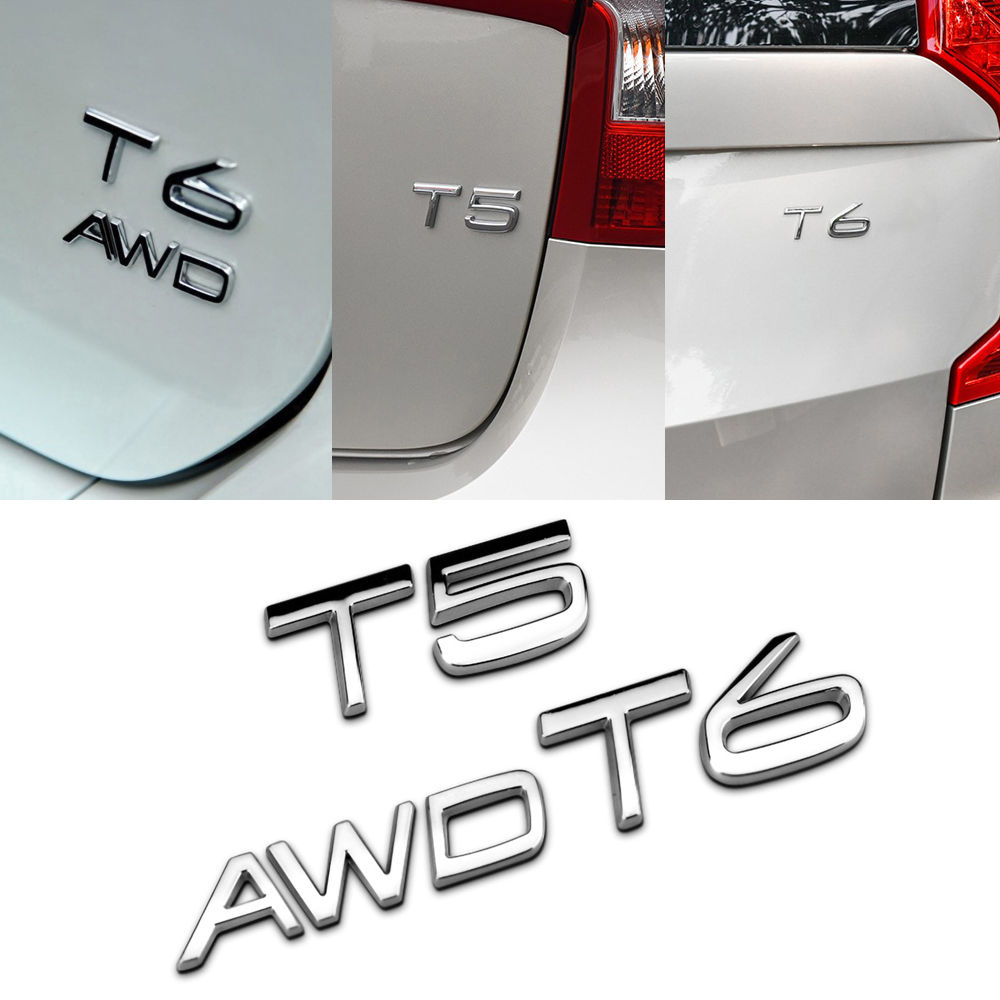Metal T5 T6 AWD Letters Emblem Car Trunk Sticker 3D Decal For <font><b>Volvo</b></font> <font><b>V40</b></font> V90 XC60 XC90 XC40 S60 S80 C30 Car Tuning Accessories image