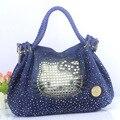 2016 новая джинсовая ткань мешок cat алмаз Моды Мультфильм Печати Сумки Женщины Saffiano Высокое качество стиль сумка сумка