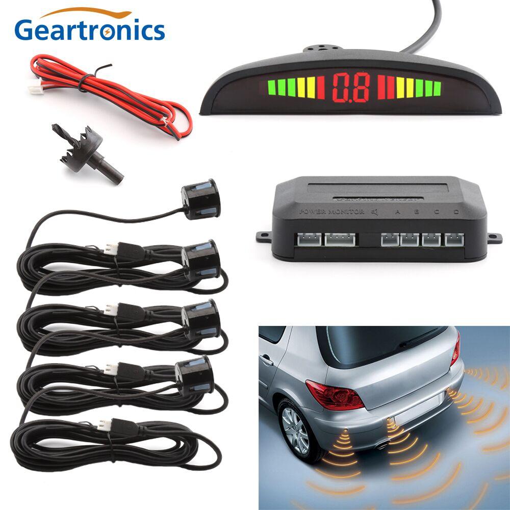 Car Auto LED Sensor de Estacionamento Com 4 Sensores Parktronic Reverso Do Carro De Backup Monitor de Estacionamento Radar Detector Sistema de Iluminação Do Display