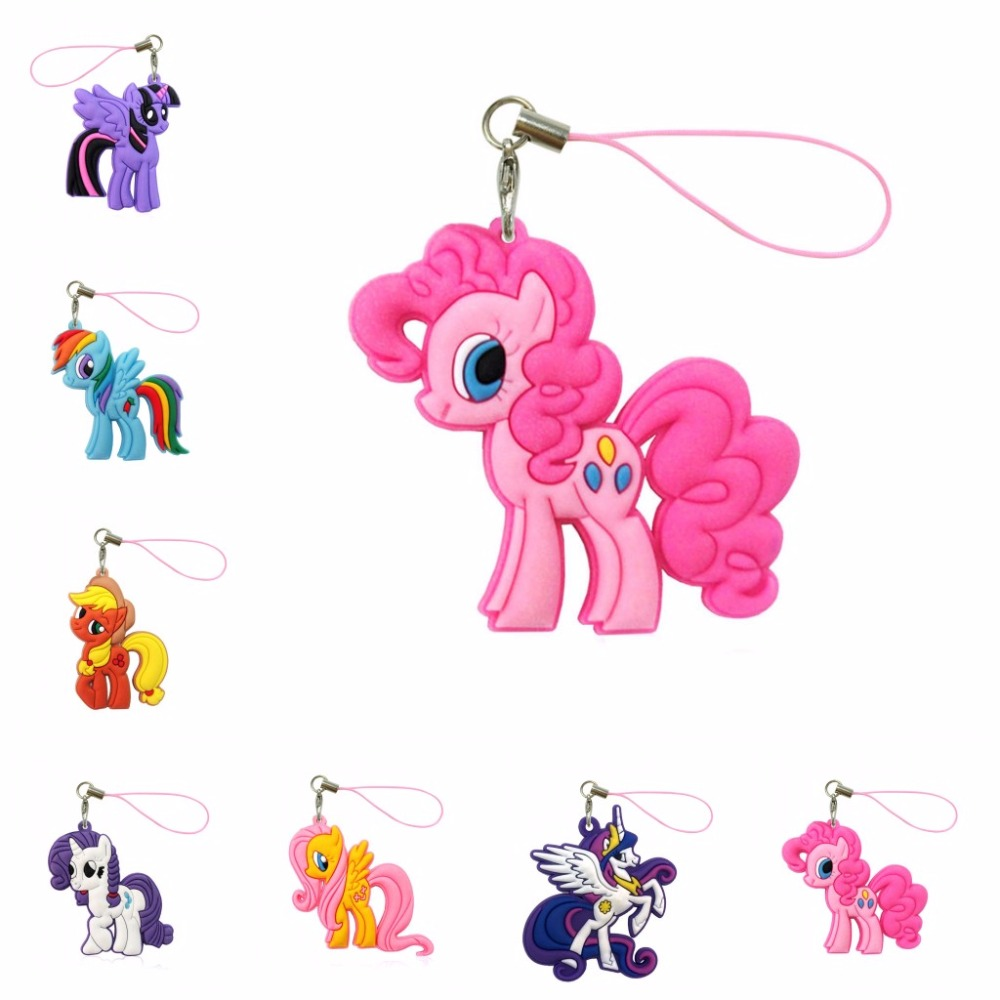 1pcs Pvc Cartoon My Little Horse Lanyard Hanging Ornaments For Cell Phone Backpack Decoration Fashion Charms Strap Gift Fast Color