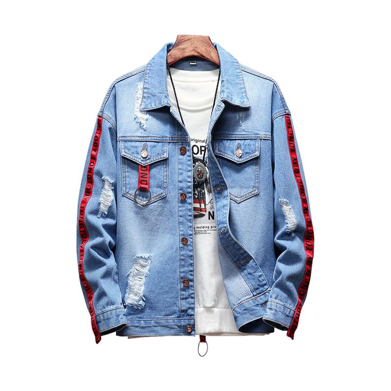 Loldeal Men S Denim Jacket Ripped