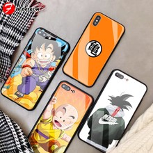 Dragon ball diy caso de telefone para iphone 7 8 6 s plus capa vidro temperado personalizado goku telefone capa para iphone x xr xs 11 pro max(China)
