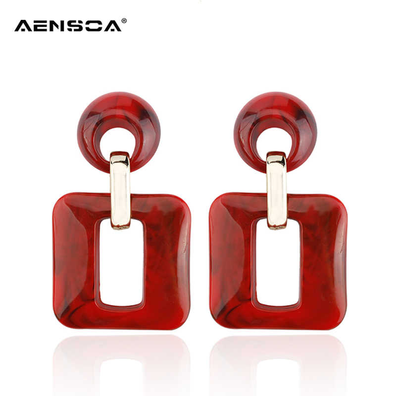 AENSOA Acrylic Large Hollow Out Drop Earring Fashion Geometric Dangle Earrings Ladies Party Jewelry for Women Wholesale brinco
