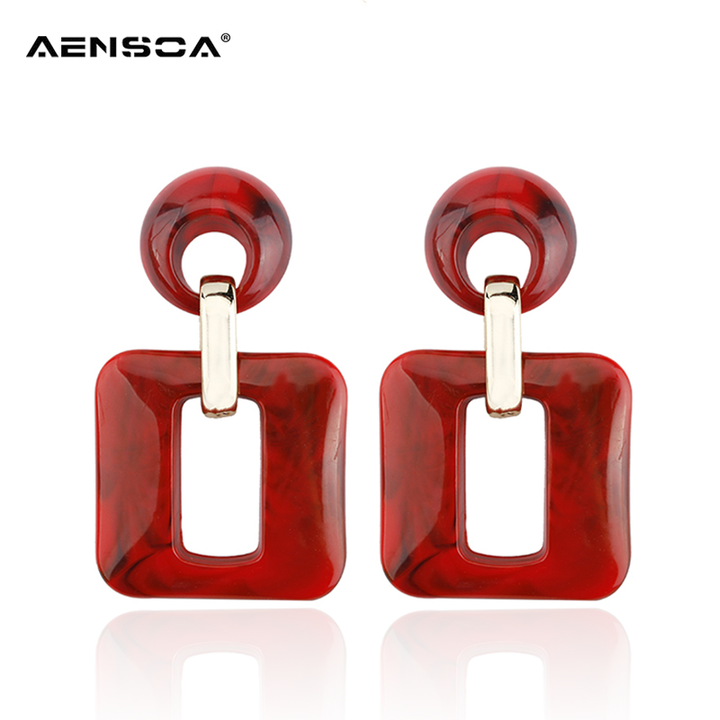 AENSOA Acrylic Large Hollow Out Drop Earring Fashion Geometric Dangle Earrings Ladies Party Jewelry for Women Wholesale brinco 1