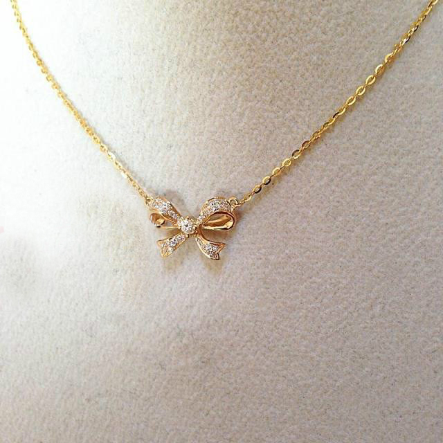 18k gold 014 carat diamond bowknot pendant necklace women bow 18k gold 014 carat diamond bowknot pendant necklace women bow diamond bow tie fine jewelry 2015 new design gold chain for lady in pendants from jewelry aloadofball Gallery