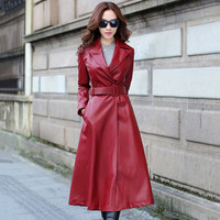 2018 Autumn Winter Women Long Windbreaker Wine Red Black PU Leather Trenchcoat Jacket Female Elegant Plus Velvet Coat Streetwear