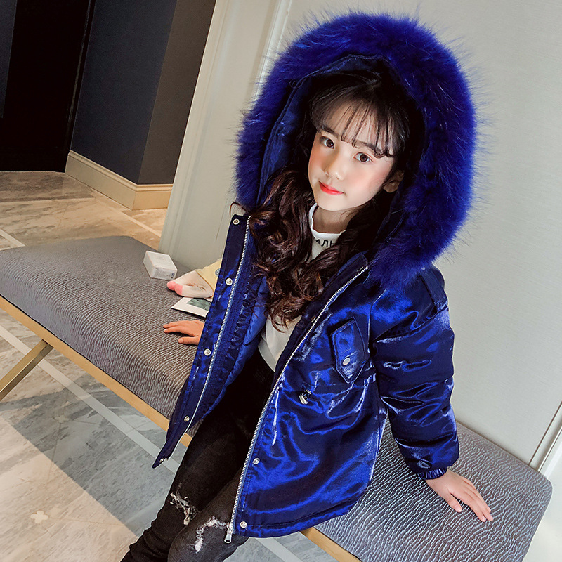 Girls 4-12 Years Winter Big Fur Down Jacket Puffer Mid-long Bright Blue Casual Fashion Thicken Warm Outerwear Coat JacketGirls 4-12 Years Winter Big Fur Down Jacket Puffer Mid-long Bright Blue Casual Fashion Thicken Warm Outerwear Coat Jacket