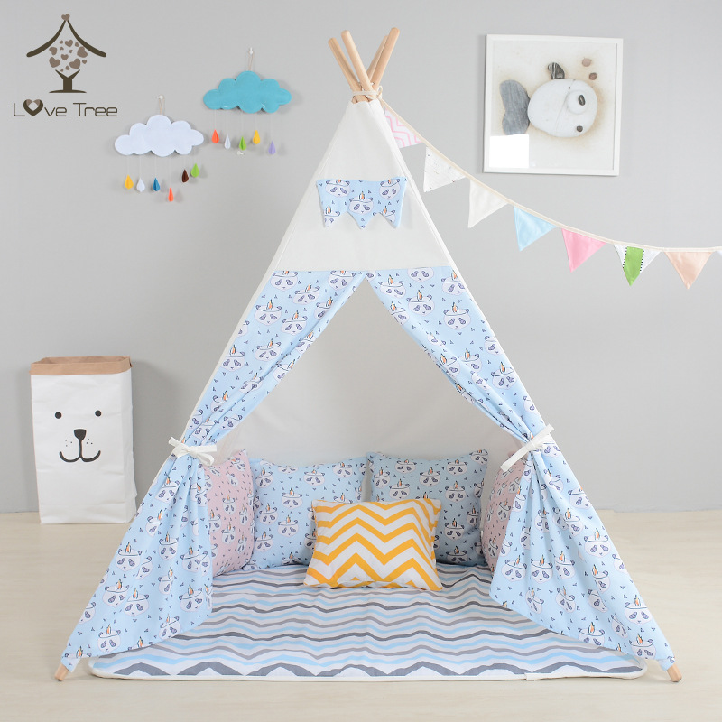цены Children tipi canvas cotton indian tent kids play house teepee baby game room playhouse boys and girls teepees toy tent