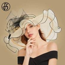 FS sombreros de sol con flores grandes para mujer, playa, Beige, Organza, fiesta, elegante, iglesia, Kentucky, Derby, ala ancha