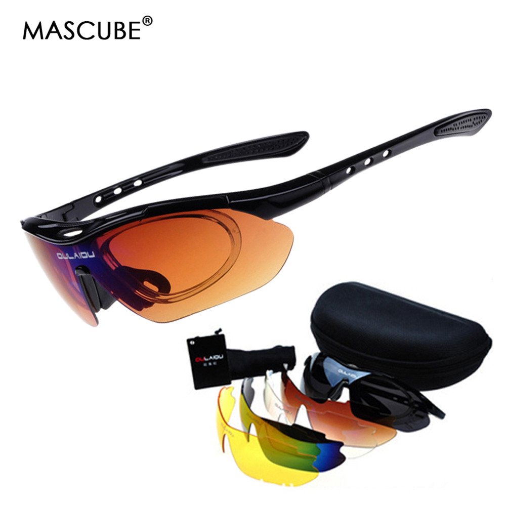 High Qulity 5 lenses Glasses polarized 2015 New Brand Sun Glasses Men Women Bike Bicycle Cycling Glasses  Sport Cycling Eyewear okulary wojskowe