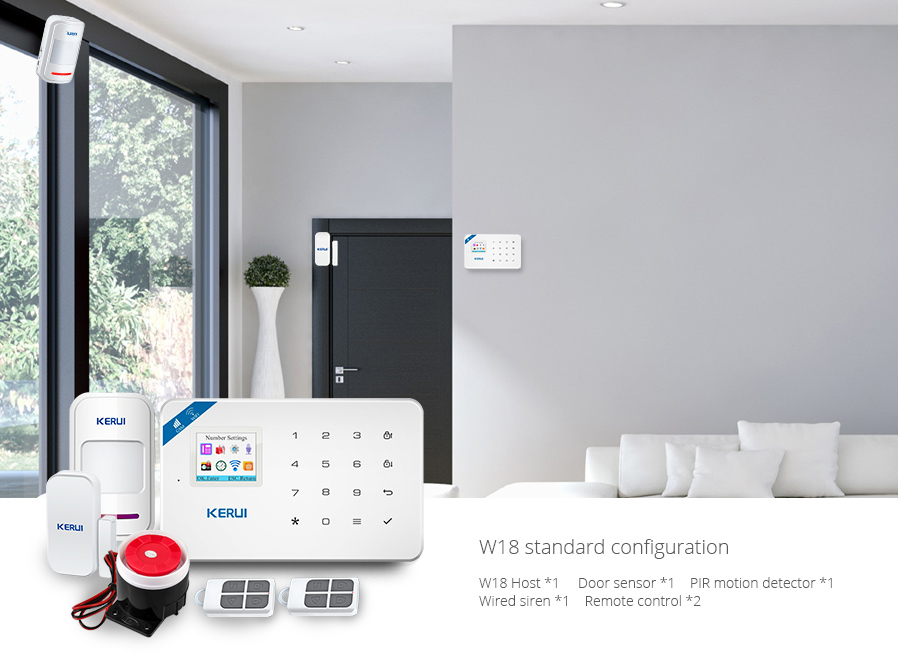 Wireless WiFi GSM Alarm System Android iPhone APP Control home Security Alarm System compatable with Anti pet PIR motion sensor_17