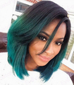 Fashion Ombre Dark Green Straight Short Bob Synthetic Lace Front Wig Natural Black/Turquoise Heat Resistant Hair Women Wigs