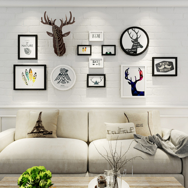 wall picture frames for living room. 13 Pcs Creative Home Wall Decoration Pure Wooden Photo Frame Combination Living  Room Deer Head