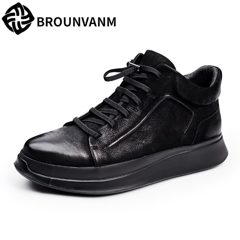 17 winter high shoes nubuck leather men casual shoes soled shoes for men casual British retro fashion youth shoes men 2017 new autumn winter british retro men shoes zipper leather breathable sneaker fashion boots men casual shoes handmade