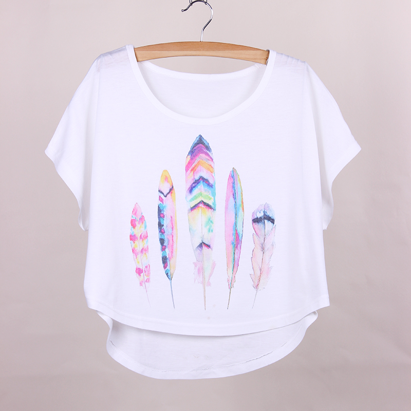 Novelty Design Plus Size T Shirt Women Feather Print Girls