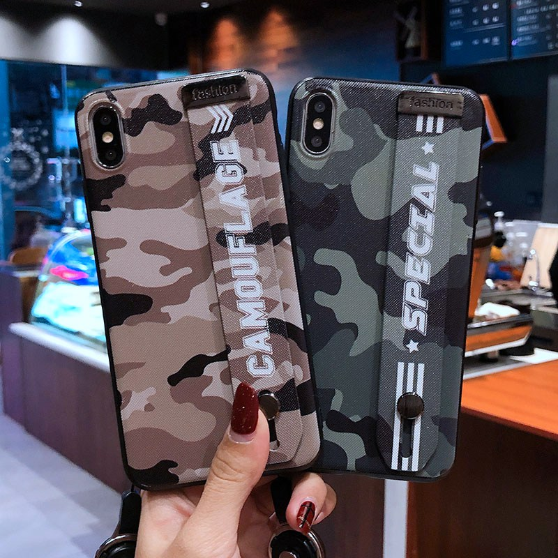 Camouflage wristband phone case for iPhone 8 7 6 6s 7plus 8plus 6splus for iphone X case XR 10 XS max support phone back cover in Fitted Cases from Cellphones Telecommunications
