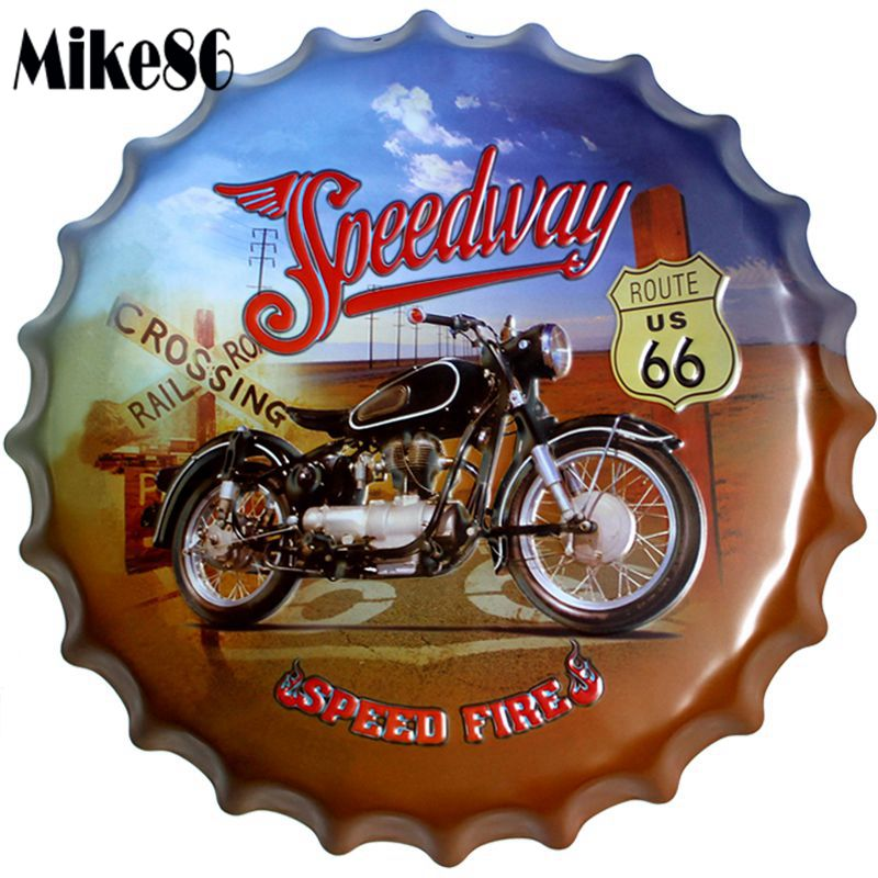 Mike86 Route 66 Speedway Motor Bottle Cap Metal
