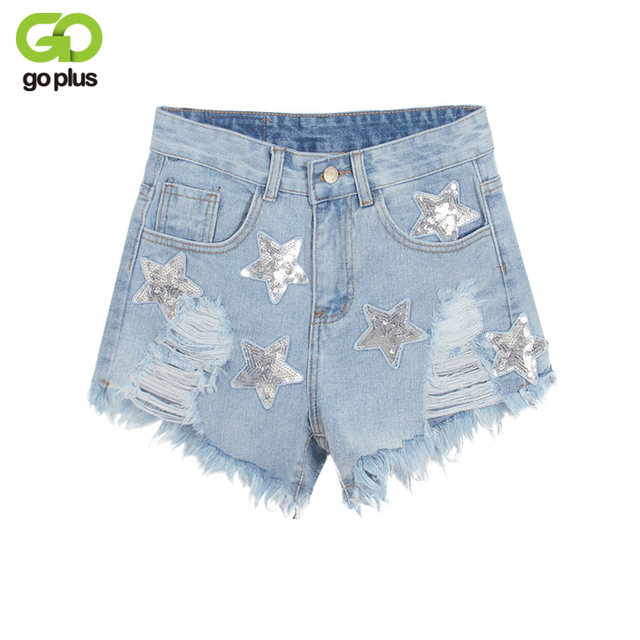 Damesmode Goplus Woman Pailletten 2018 Star Shorts Denim Hot 4qAR3Lc5j