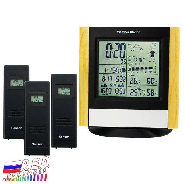 محطة الطقس 3 أجهزة الاستشعار اللاسلكية ، WWVB DCF ساعة للتحكم في الراديو ميزان الحرارة ، في الأماكن المغلقة في الهواء الطلق الرطوبة توقعات درجة الحرارة