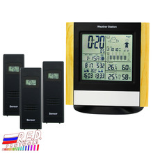 Weather Station 3 Wireless Sensors, WWVB DCF Radio Controlled Clock Thermometer, Indoor Outdoor Humidity Temperature Forecast