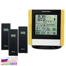Weerstation 3 Draadloze Sensoren, Wwvb Dcf Radiogestuurde Klok Thermometer, Indoor Outdoor Luchtvochtigheid Temperatuur Weerbericht